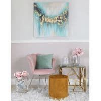 90x90 Abstract Canvas Mint Gold